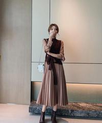夏桜*プリーツ スカート ワンピース ベスト セットアップ  ns191027-4