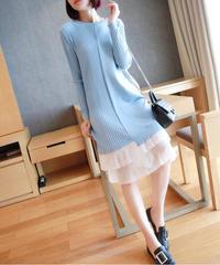 夏桜*プリーツ セーター スカート ニット ワンピース ns190905-3