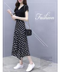 夏桜* ドットプリント Tシャツ スカート セットアップ 通勤 カジュアルツーピース ns190701-14