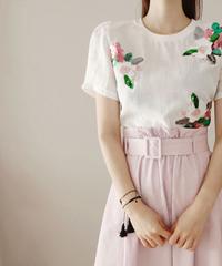 夏桜*フラワースパングルブラウススカートセットアップ ns20200726-005