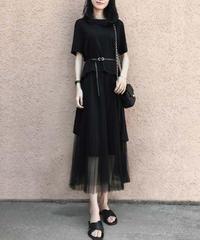 夏桜*黒 Tシャツ シフォン スカート セットアップ 通勤 カジュアルツーピース ns190704-64