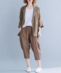 夏桜*UVカット リネン ジャケット 7 分袖 ns190725-16茶色