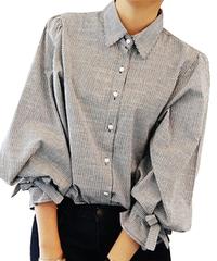 夏桜*ストライプ シャツ ブラウス 灰色 袖リボン 長袖 ns553875