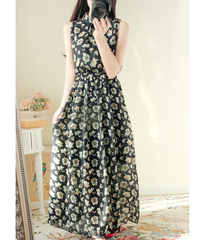 夏桜*フラワープリント シフォン ワンピース 夏ワンピース 袖なし マキシ丈 ns553868