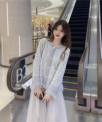 夏桜*ニットカーディガン セーターコート メッシュスカート  ns191027-10
