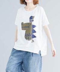 夏桜*ビックシルエット Tシャツ 体型カバー カジュアル Tシャツ ns190725-05