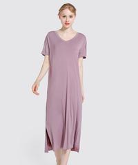 夏桜*Vネックロングホームドレス ゆったり のびのび モーダルナイトドレス ns190704-62