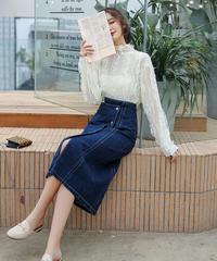 夏桜*ブラウス デニム スカート セットアップ 可愛らしいツーピース ns190902-5