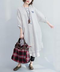 夏桜*秋の綿とリネン ロング シャツ ns190821-3