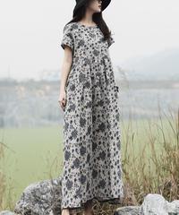 夏桜*ラミー生地 Tシャツワンピース 体型カバー ホリデーカジュアル ワンピース ns190704-11