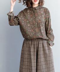 夏桜*小花柄コットンリネンラペル長袖レディースシャツns20200911-05