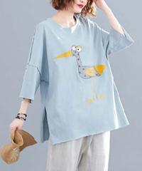 夏桜*ビックシルエット Tシャツ 体型カバー カジュアル Tシャツ ns190725-07