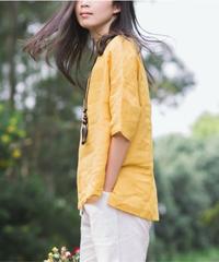 夏桜*高級ラミー100% アンバランススタイル Tシャツ ホリデーカジュアルシャツ ns190703-12
