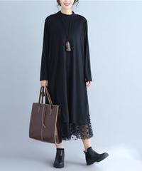 夏桜*ゆったり ロング レース裾 ワンピース ns190822-2