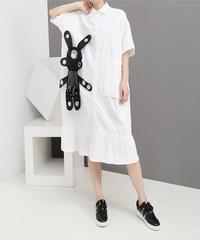 夏桜*シャツ ワンピース ゆったりウエスト モダンスタイル デザインワンピース ns190624-015