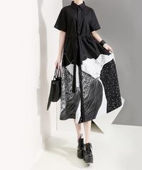 夏桜*シャツ ワンピース ハイウエスト モダンスタイル コラージュ デザインワンピース 黒 ns190624-016