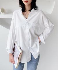 夏桜*シックなソリッドカラーのシャツ無地コットンブラウス  ns191027-2