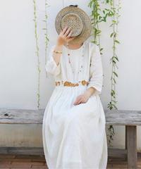 夏桜*ラミー綿ウエスト刺繍のエレガントワンピース ns20200504-008
