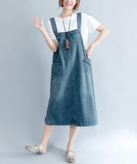 夏桜* ビック シルエット デニム ワンピース らくちん ホリデーカジュアルワンピース ns190703-09