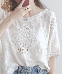 夏桜*綿レースフックフラワートップブラウス ns20200612-001