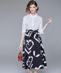 夏桜*白いシャツとAラインスカートツーピース  ns20200304-001