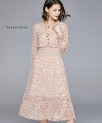 夏桜*春と夏の新しい長袖ミドル丈Vネックプリントストレッチウエスト小さな花柄のドレス  ns20200304-003