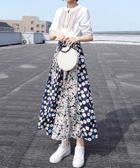 夏桜*ハイウエストロングスカートセットアップ ゆったり フラワープリント ホリデーカジュアル ns190701-18