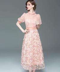 夏桜*春と夏の新しいファッションランタンスリーブメッシュガーゼ刺繍ミドル丈ドレス  ns20200304-002