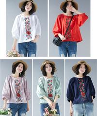 夏桜*コットン リネン Tシャツ ゆったり ホリデー カジュアル シャツ ns190701-29
