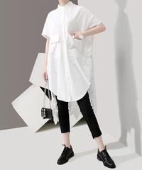 夏桜*バンドカラー ロング ブラウス ブラウス モダン デザイン ブラウス 大人のモダンスタイル ns190625-019