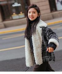 夏桜*チェック柄厚く暖かいウールのコート ns191104-013