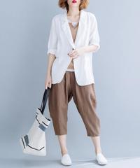 夏桜*UVカット リネン ジャケット 7分袖 ns190725-16白