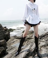 夏桜*アーク裾マルチフォールドウエストホワイトシャツ ns191221-002