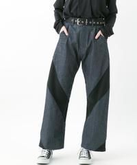Distortion denim pants (INDIGO , BLACK)