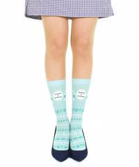 【キャラクター】タヌキとキツネ CS-0189【さわやかボーダー】プリントクルーソックス