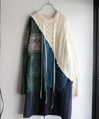"""""""雨上がりの緑"""" Green after the rain, reconstructed from knit and jacket vintages"""