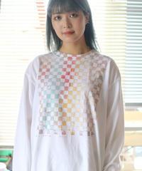 """""""パウル・クレーに捧ぐ手刷りのロンT 第一色"""" T-shirt by Analog silk screen overlay blurring hand-print"""