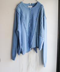 """""""リボンと狐の嫁入り"""" SUNNYRAIN AND RIBBONS, reconstructed from blue cotton knit vintages"""