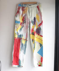 """偽装する虹"" Fake stitch painted pants, Based on Bleach vintage denim"