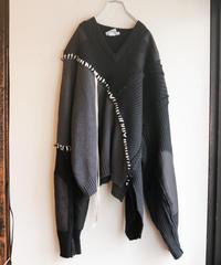 """""""月夜"""" night and moon knit, reconstructed from black knit vintages"""