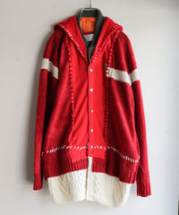 """少年とセーラーとMA-1"" Boy, sailor and MA-1 knit, reconstructed from red knit vintages"