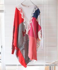 """""""リリィ"""" Lily Oversized multicolor patchwork and hand-stitching pull-over, rebuild by vintages"""