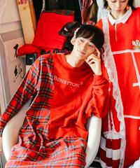 """""""ボーイフレンド・レッドワンピース"""" Red Dress one-piece for boyfriend, rebuild from vintages"""