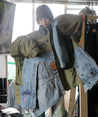 """HOPES AND LORE"" Over Heavy military Jacket, reconstructed from mix vintages"