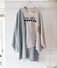 """""""灰と薄青"""" Ash and light blue Misaligned pullover, rebuild by vintages"""