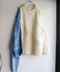 """あの日、青かっただけのニットセーター 2021年式"" Past blue knit, reconstructed from blue and white knit vintages"