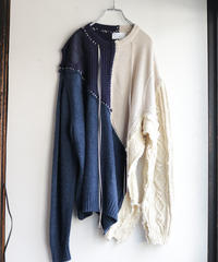 """雨明け招き"" the Pray after the Rainfall knit, reconstructed from blue and white knit vintages"