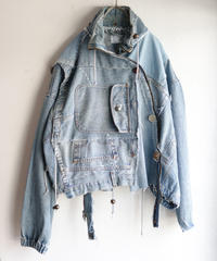 """すれちがって巡り合う青"" FAREWELL AND REUNION Denim jacket, reconstructed from denim vintages"