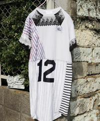 """""""少し大人になったあなたへ"""" Reconstructed dress with Hand-silkscreen with Black antique laces"""