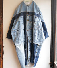 """""""水白虹"""" Liquid White Rainbow Coat, reconstructed from denim vintages"""